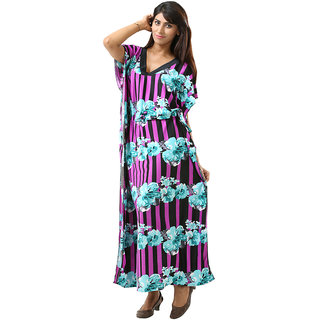 Dashing And Breezy All Over Purple Floral Print Full Length ButterflyKaftan