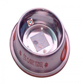 PET CLUB51 STANDARD DOG FOOD BOWL CLASSIC FEEDER ORANG- EXTRA SMALL