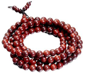 Red Wood Beads Buddhist Prayer Mala Necklace