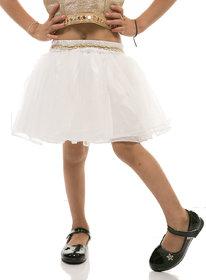 Rimsha white gathered net skirt for kids