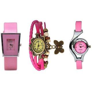 Infinity Enterprise Pink Analog Watch - Pack of 3