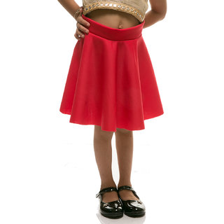 Rimsha red viscose flaired skirt for kids
