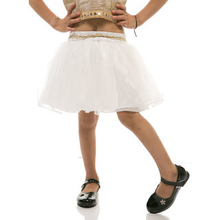 Rimsha white gathered net skirt for kids