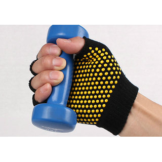Anti slip anti skid Fingerless Gym Gloves for Yoga,pilates Pull-ups, Weightlifting and Fitness