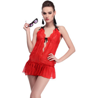 Belle Nuits Women's Solid Red Nighty