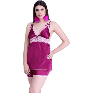 Belle Nuits Women's Solid Burgundy Nighty