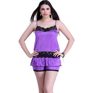Belle Nuits Women's Solid Purple Nighty