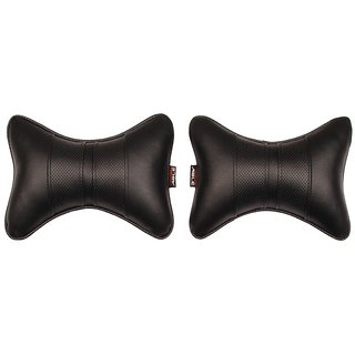 Able Sporty Neckrest Neck Cushion Neck Pillow Black For HYUNDAI GRAND I-10 Set of 2 Pcs