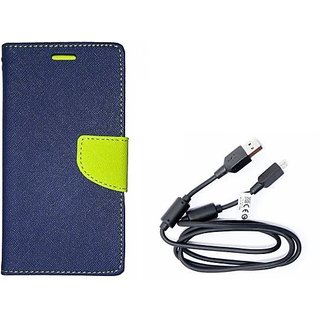 Wallet Mercury Flip Cover for Micromax Canvas 2 Colours A120 (BLUE) With Genuine USB Charging Data Cable