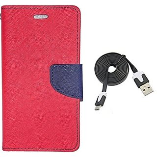 Wallet Mercury Flip Cover for Micromax Unite 3 Q372 (RED) With usb data cable
