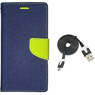 Wallet Mercury Flip Cover for HTC One M9 (BLUE) With usb data cable