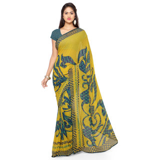 Sareemall Yellow Georgette Self Design Saree With Blouse
