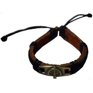 Men Style Antique Bronze Love  Bow And Arrow Friendship  Black  Leather Round Bracelet