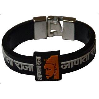Men Style Janata Raja (Chhatrapati shivaji)  Silicone Wristband with Steel Orange And Black  Silcone Round Bracelet