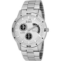 Ziera Round Dial Silver Analog Watch For Men -Zr-7001