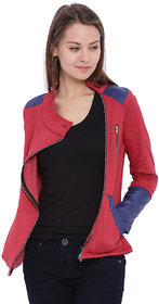 Campus Sutra Maroon Solid Cotton Jacket For Women