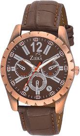 Ziera Round Dial Brown Analog Watch For Men -Zr-1225