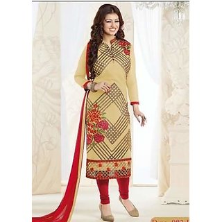 Royal Fashion Cream  Color Georgette  Printed Designer Dress Materials