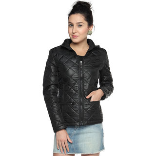 Campus Sutra Black Solid Nylon Jacket For Women