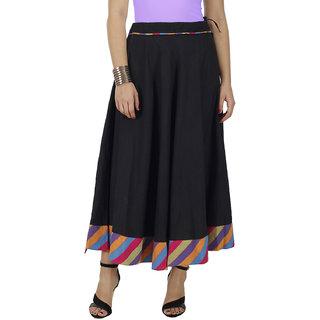 Flared Black Cotton Skirt
