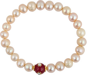 Pearlz Ocean Red Jade And Freshwater Pearl Stretchable Bracelet For Women