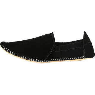 Zebx Men Black Velvet Ethnic Mojari