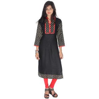 X One Black Cotton Round Shape Elbow Sleeve Kurti For Women