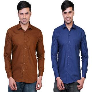 25c01d3a86fb Variksh Brown And Dark Blue Color Cotton Casual Slim Fit Shirt For Men S  (Pack Of 2)