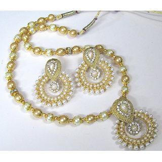 White Stone Pendant Pearl Necklace Set