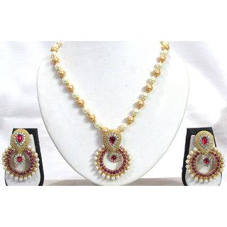 Dark Pink Stone Pendant Pearl Necklace Set