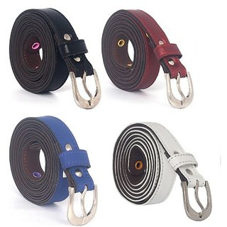 Fashno Combo Of Multi Color Casual Leatherite Belt For Women (L-42 inch and W-1 inch) (Pack Of 4) (LB-15)