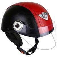 MPIRed/Black Leather Look Open Face Helmet For Moterbike Helmet For All