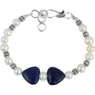 Pearlz Ocean Freshwater Pearl And Dyed Lapis Lazuli 7 Inches Bracelet For Girls