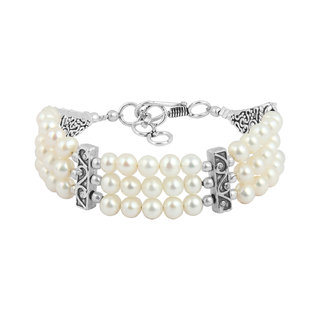 Pearlz Ocean White Freshwater Pearl Three Strands 7 Inches Bracelet For Girls