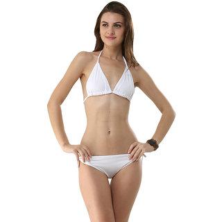 Eye-Catching Haltered Lovable White Bikini Set
