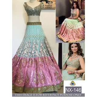 Buy Nylon Mono Net Sky Blue  Pink  Lehenga Choli