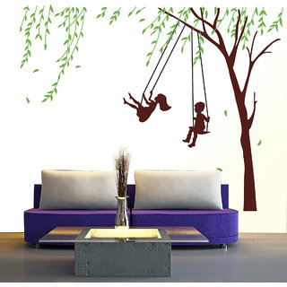 New Way Decals Wall Sticker (9657) Little Children Playing Swing