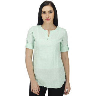 Women Solid Green Tunic