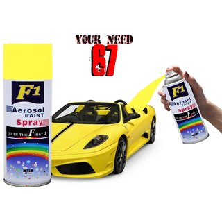 F1 AEROSOL SPRAY PAINT YELLOW FOR MULTIPURPOSE(CAR,BIKE,CYCLE,ETC.,)