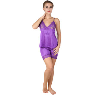 RJ Satin Women Free Size Top  Shorts Set-Blue