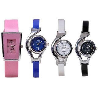 Glory Combo Of 4 Multicolour PU Analog Watch