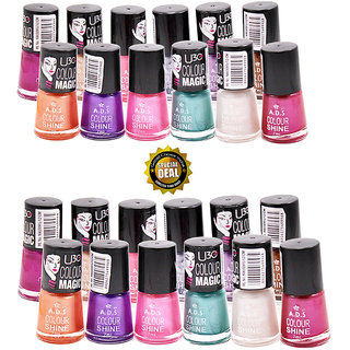 ADS Multi Color Shine Nail Polish set of 12 pcs Buy 1 Get 1 Free