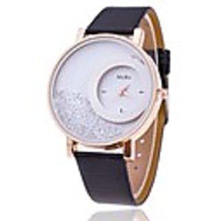 Round Dial Black Leather Strap Women Quartz Watch