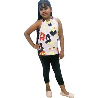 Girls Kids Capri Leggings Tights Legging Cotton Soft Black  ALE1217 Fashion Leggis Pant Daily Wear