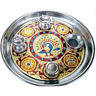 satya meenakari work decorative pooja thali 12 inches