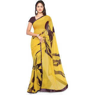 Sareemall Yellow Georgette Printed Saree With Blouse