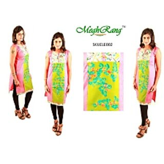 MeghRang Festive Rich Embroidered LemonGreenPink Kurti