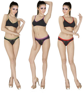 SK Dreams Multi Color Set of 3 Women's Bra  Panty Sets Combo