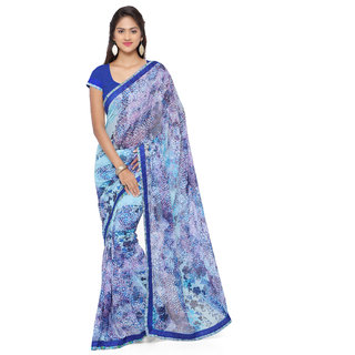 Sareemall Blue Georgette Printed Saree With Blouse