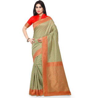 Sareemall Green Art Silk Printed Saree With Blouse